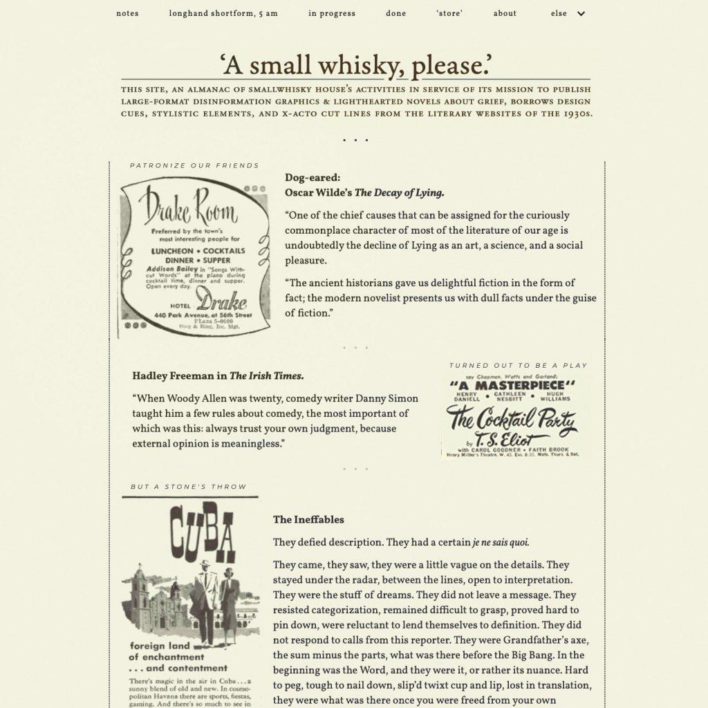 A Novel Chapter at SmallWhiskey.com